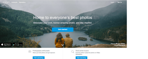 500px image sharing site