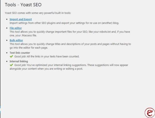 Tools in yoast seo