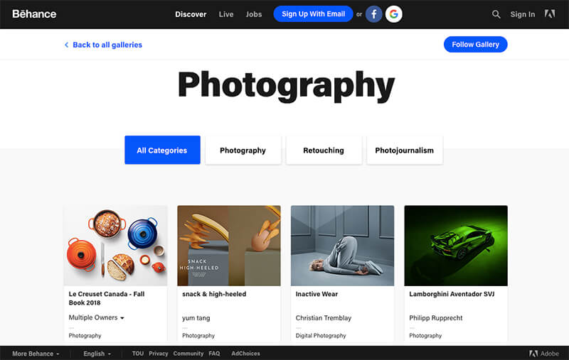 behance image sharing site