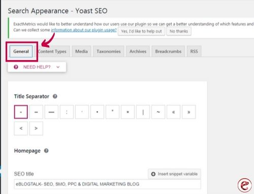 search appearance in yoast seo