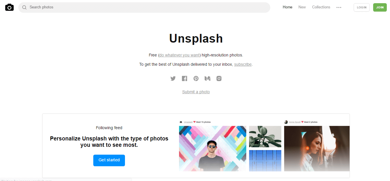 unsplash photo sharing site